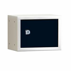 Uzamykatelný box na osobní věci Cube, 150x200x150 mm, bílá/černé dveře