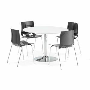 Jídelní set Lily + Juno, 1 stůl a 4 antracitové židle