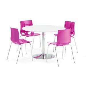 Jídelní set Lily + Juno, 1 stůl a 4 fialové židle