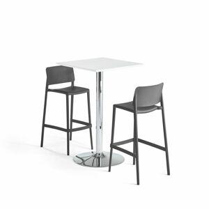 Barový set: 1x stůl Bianca + 2x židle Rio, antracitová