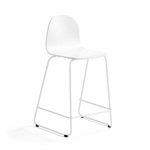 Barová židle Gander, výška sedáku 630 mm, lakovaná skořepina, bílá