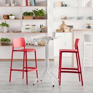 Sestava Various + Rio, 1 stůl a 2 červené barové židle