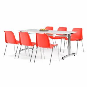 Nábytkový set Sanna + Sierra, 1 stůl a 6 červených židlí