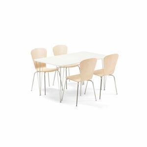 Jídelní set Zadie + Milla, 1 stůl a 4 židle v barvě bříza