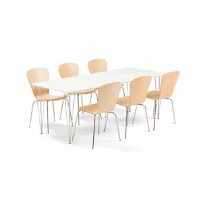 Jídelní set Zadie + Milla, 1 stůl a 6 židlí v barvě buk
