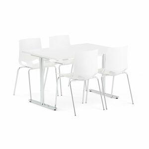 Jídelní set Tilo + Juno, 1 stůl a 4 bílé židle