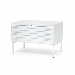 Výkresová skříň Sketch, 6 zásuvek, A0, deska lamino, bílá