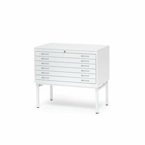 Výkresová skříň Sketch, 6 zásuvek, A1, deska plech, bílá
