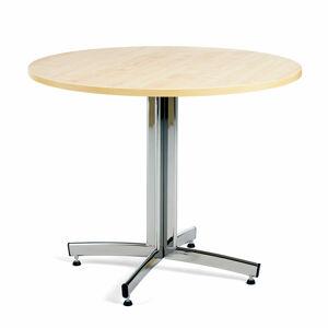 Kulatý jídelní stůl Sanna, ?900 mm, bříza, chrom