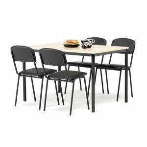 Jídelní sestava: stůl 1200x800 mm, bříza + 4 židle, černá koženka/černá