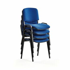 Konferenční židle Nelson, bal. 4 ks, modrý potah, černá