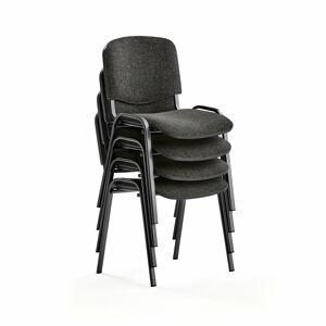 Konferenční židle Nelson, bal. 4 ks, šedý potah, černá