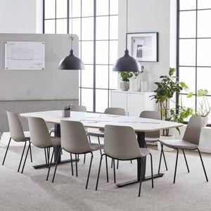 Jednací stůl Audrey, 2400x1200 mm, černý rám, světle šedá deska