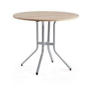 Stůl Various, ?1100 mm, výška 900 mm, stříbrná, dub