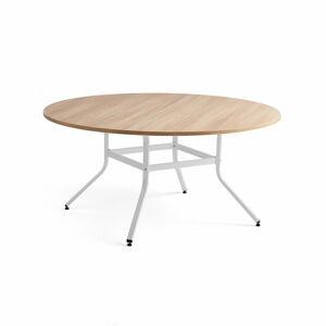 Stůl Various, Ø1600 mm, výška 740 mm, bílá, dub