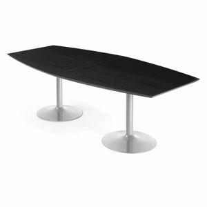 Jednací stůl Avery, 2400x1200 mm, HPL, černá, hliníkově šedá