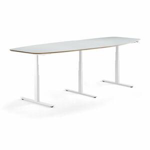 Jednací stůl Audrey, nastavitelná výška, 3200x1200 mm, bílý rám, světle šedá deska