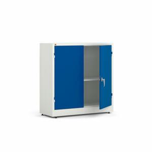 Kancelářská skříň Style, 1000x1000x400 mm, bílá, modré dveře
