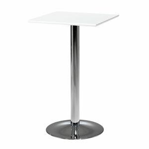 Barový stůl Bianca, 700x700 mm, HPL, bílá/chrom
