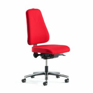 Kancelářská židle Brighton, asynchronní mechanika, červená, chromovaný kříž