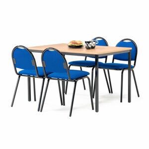 Jídelní sestava: stůl 1200x800 mm, buk + 4 židle, modrá/černá