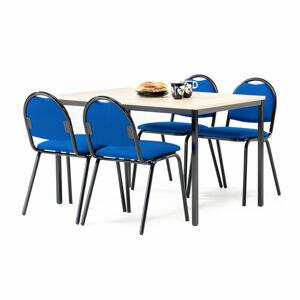 Jídelní sestava: stůl 1200 x 800 mm, lamino bříza + 4 židle, modrý textilní potah