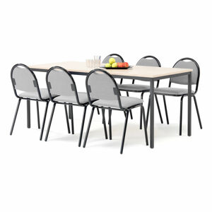 Jídelní sestava: stůl 1800x800 mm, bříza + 6 židlí, šedá/černá