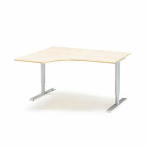 Výškově nastavitelný stůl Adeptus rohový 160 x 120 cm, béžová