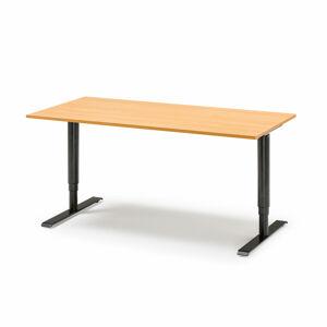 Výškově nastavitelný stůl, 1600x800 mm, dýha - buk, černá