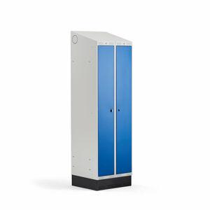 Šatní skříňka Classic Combo, 1 sekce - 2 boxy, 2050x600x550mm, sokl, modré dveře