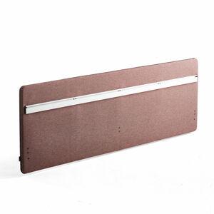 Stolový paraván Zip Rivet se závěsnou lištou, 2000x650 mm, černý zip, červenofialová