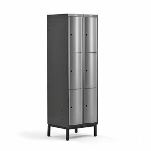 Šatní skříňka Curve, 2 sekce, 6 boxů, 1940x600x550 mm, nohy, šedé dveře