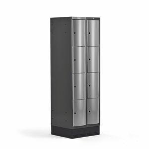 Šatní skříňka Curve, 2 sekce, 8 boxů, 1890x600x550 mm, sokl, šedé dveře