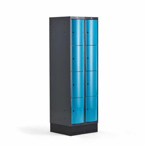 Šatní skříňka Curve, 2 sekce, 8 boxů, 1890x600x550 mm, sokl, modré dveře