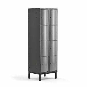 Šatní skříňka Curve, 2 sekce, 8 boxů, 1940x600x550 mm, nohy, šedé dveře