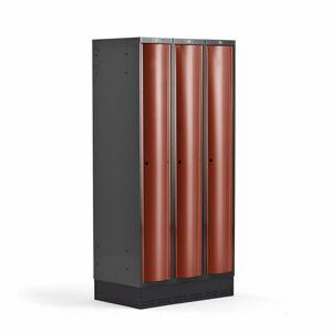 Šatní skříňka Curve, 3 sekce, 1890x900x550 mm, sokl, červené dveře