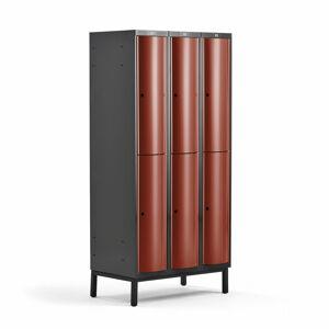 Šatní skříňka Curve, 3 sekce, 6 boxů, 1940x900x550 mm, nohy, červené dveře