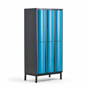 Šatní skříňka Curve, 3 sekce, 6 boxů, 1940x900x550 mm, nohy, modré dveře