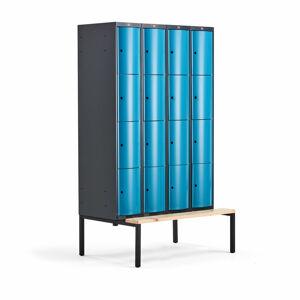 Šatní skříňka Curve, 4 sekce, 16 boxů, 2120x1200x550 mm, lavice, modré dveře