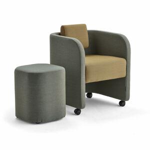 Nábytková sestava Comfy, křeslo a taburet, s kolečky, vlněný potah, tyrkysovo-oranžová/zlatá