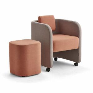 Nábytková sestava Comfy, křeslo a taburet, s kolečky, vlněný potah, stříbrnošedá/lososově růžová
