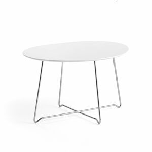 Konferenční stolek Iris, oválný, 870x670 mm, chrom, bílá deska