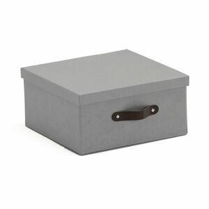 Úložná krabice Tidy, 155x315x315 mm, šedá s koženými úchytkami