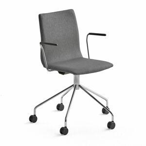 Konferenční židle Ottawa, s kolečky a područkami, šedá, chromovaný rám