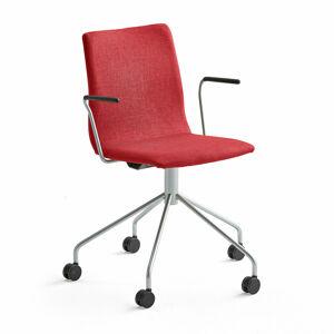 Konferenční židle Ottawa, s kolečky a područkami, červená, šedý rám