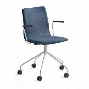 Konferenční židle Ottawa, s kolečky a područkami, modrý potah, bílá