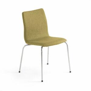 Konferenční židle Ottawa, olivově zelený potah, chrom