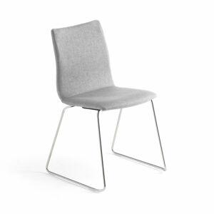 Konferenční židle Ottawa, ližinová podnož, stříbrně šedý potah, chrom