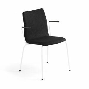 Konferenční židle Ottawa, s područkami, černý potah, bílá