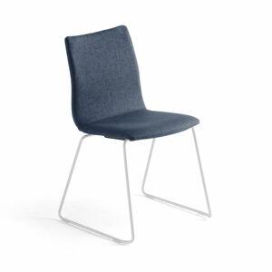 Konferenční židle Ottawa, ližinová podnož, modrý potah, bílá